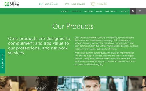 Screenshot of Products Page qtec.com.au - Business Software & IT Products | Qtec Systems - captured Nov. 5, 2016