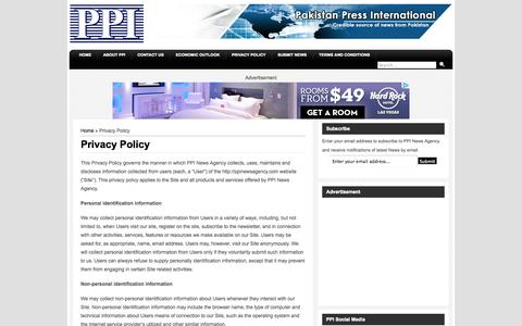 Screenshot of Privacy Page ppinewsagency.com - PPI | News Agency | Privacy Policy - captured Oct. 1, 2014
