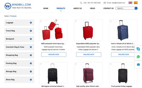 Screenshot of Products Page windbell.com - Promotional Bag, Mummy Bag, Storage Bag, Travel Bag, Backpack, Straw Bag,  Cosmetic Bag & Case, Shopping Bag - captured Oct. 30, 2018