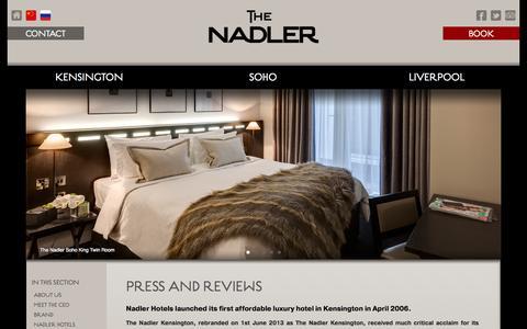 Screenshot of Press Page thenadler.com - Press and Reviews for The Nadler Kensington Hotels - thenadler.com - captured Sept. 25, 2014
