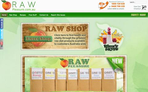Screenshot of Home Page raw-pleasure.com.au - Raw Food Australia - captured Sept. 23, 2014