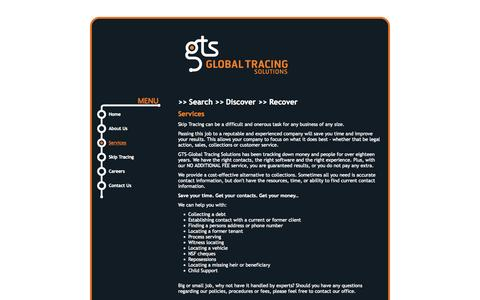Screenshot of Services Page gtsglobaltracing.ca - GTS Global Tracing Solutions, New Westminster real estate: Services - captured Oct. 1, 2014