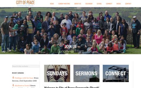 Screenshot of Home Page cityofpeace.co.uk - City of Peace Community Church – City of Peace is a family friendly neighbourhood church on the Isle of Dogs. All welcome. - captured Sept. 28, 2018
