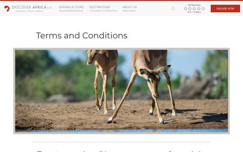 Screenshot of Terms Page discoverafrica.com - Website usage terms and conditions - Discover Africa | Discover Africa Safaris - captured June 13, 2018