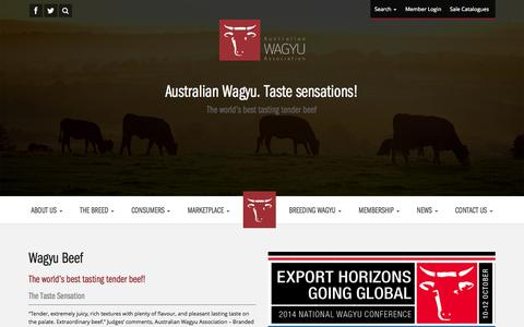Screenshot of Products Page wagyu.org.au - Australian Wagyu Association - captured Oct. 4, 2014