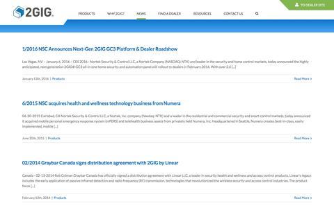 Screenshot of Press Page 2gig.com - News - 2GIG - captured Feb. 13, 2016
