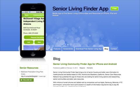 Screenshot of Blog senior-living-finder.com - Blog Archives - Senior Living Finder App - captured March 3, 2016