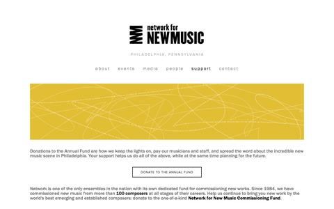 Screenshot of Support Page networkfornewmusic.org - Support Ń Network for New Music - captured Jan. 10, 2016