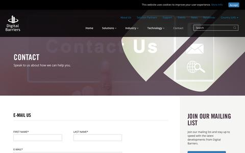 Screenshot of Contact Page digitalbarriers.com - Contact Us | Surveillance & Security | Digital Barriers - captured Sept. 25, 2018