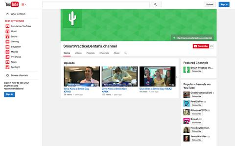 Screenshot of YouTube Page youtube.com - SmartPracticeDental's channel  - YouTube - captured Oct. 23, 2014