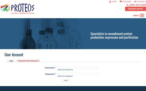 Screenshot of Login Page proteos.com - User Account | Proteos, Inc. - captured June 30, 2018