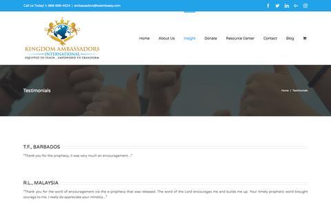 Screenshot of Testimonials Page kaiembassy.com - Testimonials – Kingdom Ambassadors International - captured Oct. 17, 2017