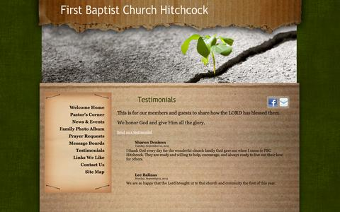 Screenshot of Testimonials Page fbchitchcock.org - First Baptist Church Hitchcock - captured Oct. 6, 2014