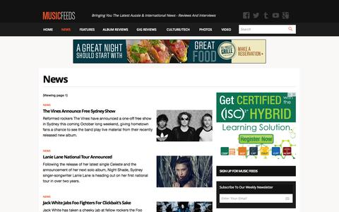 Screenshot of Press Page musicfeeds.com.au - News - Music News, Reviews, Interviews and Culture - Music Feeds - captured Sept. 19, 2014