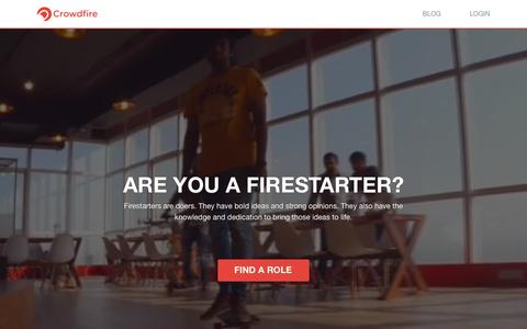 Screenshot of Jobs Page crowdfireapp.com - Careers at Crowdfire - captured Feb. 21, 2016