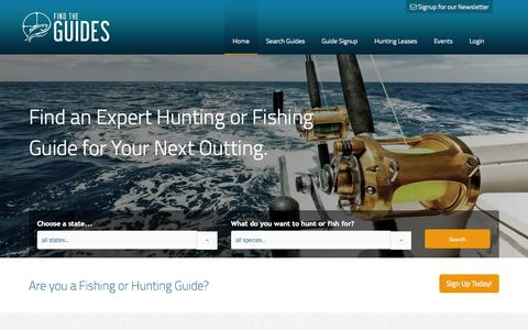 Screenshot of Home Page findtheguides.com - Find The Guides | The Outdoors Made Easy | Fishing Trips and More - captured Oct. 5, 2014