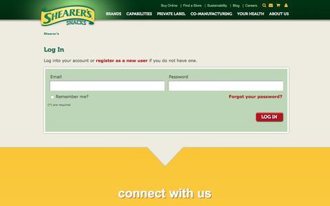 Screenshot of Login Page shearers.com - Log In - captured July 6, 2017