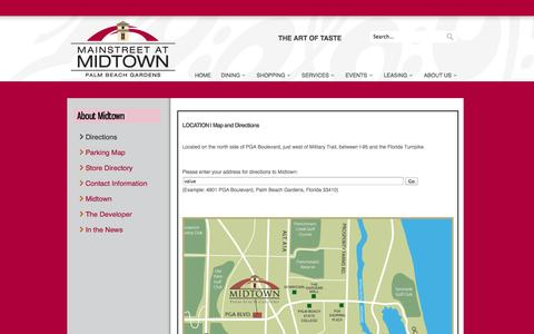 Screenshot of Maps & Directions Page midtownpga.com - ABOUT US | Map and Directions - captured Oct. 6, 2014