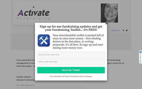 Screenshot of Contact Page activatefundraising.com - Fundraising Consultant & Freelance Fundraiser | Activate Fundraising - captured July 24, 2016