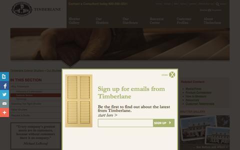 Screenshot of Support Page timberlane.com - Timberlane Exterior Shutters :: Customer Service - captured Nov. 4, 2014