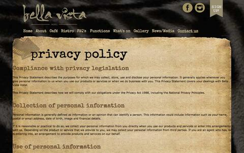 Screenshot of Privacy Page bellavistahotel.com.au - Bella Vista Hotel - Privacy Policy - captured Sept. 30, 2014