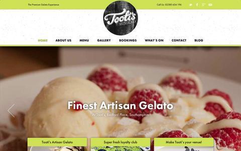 Screenshot of Home Page tootisgelato.com - Tooti's Gelato Bar | Southampton Ice Cream Parlour & Bar - captured Oct. 7, 2014