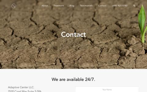 Screenshot of Contact Page adaptivecenter.net - Contact The Adaptive Center Miami - captured Oct. 29, 2014