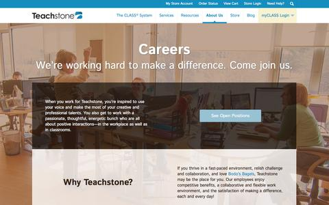Screenshot of Jobs Page teachstone.com - Careers at Teachstone | The CLASS System | Charlottesville Virginia - captured Oct. 26, 2014