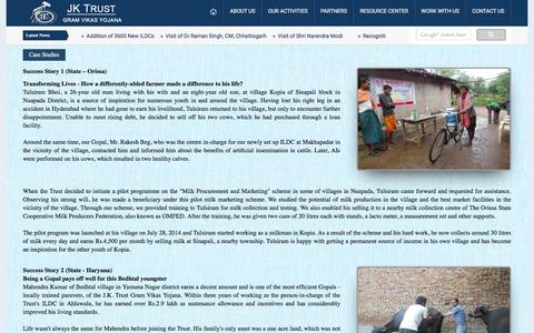 Screenshot of Case Studies Page jktrust.org - J. K. Trust Gram Vikas Yojana | Mission - captured Dec. 20, 2015