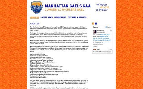 Screenshot of About Page manhattangaels.com - Manhattan Gaels | ABOUT US - captured Oct. 3, 2014