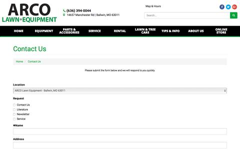 Screenshot of Contact Page arcolawn.com - Contact Us ARCO Lawn Equipment Ballwin, MO (636) 394-0044 - captured Oct. 9, 2017