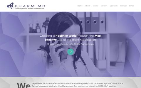 Screenshot of Home Page pharmmd.com - Creating a Healthier World | PharmMD Medical Experts - captured Nov. 1, 2017