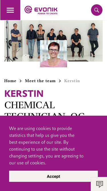 Screenshot of Team Page  evonik.com - Kerstin                                                                - Evonik Careers