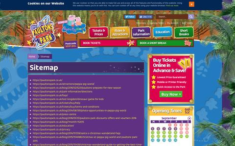 Screenshot of Site Map Page paultonspark.co.uk - Sitemap | Paultons Family Theme Park - captured Sept. 24, 2016