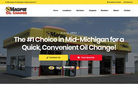 Screenshot of Home Page magpieoilchange.com - Magpie Oil Change | Quick Oil Change Near You since 1982 - captured Nov. 6, 2018