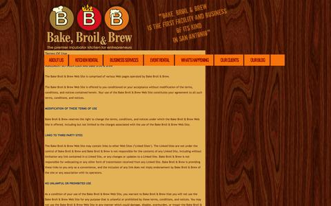 Screenshot of Terms Page bakebroilbrew.com - Bake, Broil & Brew - Home - captured Sept. 30, 2014