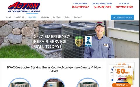 Screenshot of Services Page actionheatandair.com - Services | Action Air Conditioning & Heating - captured June 17, 2016