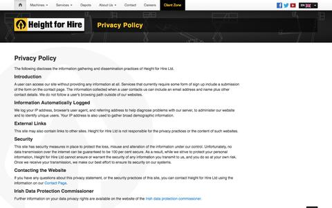 Screenshot of Privacy Page heightforhire.com - Height for Hire - Privacy Policy - captured Oct. 2, 2014