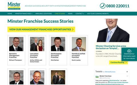 Screenshot of Case Studies Page minsterfranchise.co.uk - Management Franchise Case Studies | Minster Management Franchises | - captured Oct. 20, 2018