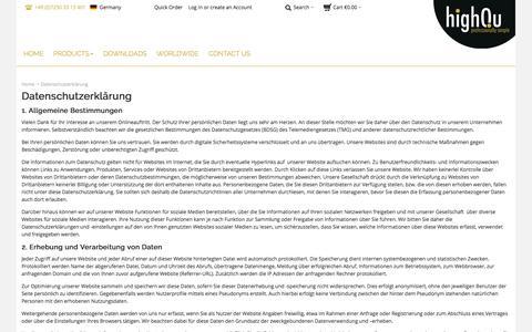 Screenshot of Privacy Page highqu.com - highQu GmbH |  Datenschutzerklärung - captured Sept. 20, 2017
