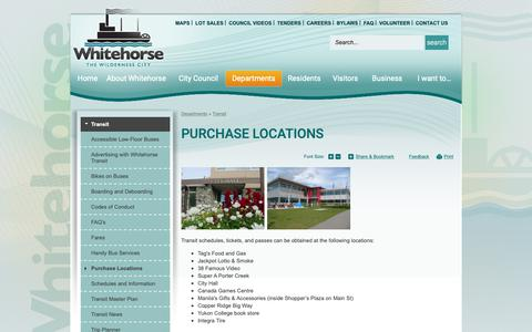Screenshot of Locations Page whitehorse.ca - Purchase Locations | Whitehorse, YT - captured Sept. 28, 2018