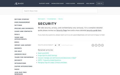 Screenshot of Support Page getbase.com - Security – Base Support - captured Oct. 9, 2018