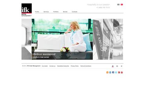 Screenshot of Home Page Privacy Page Contact Page Terms Page ifk-hm.com - Hotel Management in Russia : IFK Hotel Management Company - captured Oct. 3, 2014