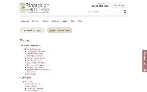 Screenshot of Site Map Page plantation-shutters.co.uk - Site map | Plantation Shutters - captured Aug. 9, 2017