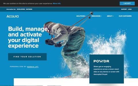 Screenshot of Home Page acquia.com - Digital Experience Platform for Content, Community, Commerce | Acquia - captured March 20, 2018