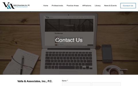 Screenshot of Contact Page vallalaw.com - Contact Us — Valla & Associates, Inc., P.C. - captured Feb. 13, 2016
