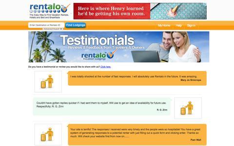 Screenshot of Testimonials Page rentalo.com - Testimonials, Rent Cabin, Villas Resorts, Short Term Rentals, Rentalo.com - captured Oct. 26, 2014