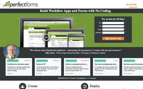 Screenshot of Landing Page perfectforms.com - Workflow Forms - PerfectForms - captured Sept. 19, 2018