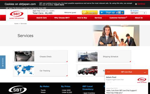 Screenshot of Services Page sbtjapan.com - Services | Japanese Used Cars Exporter, Dealer, Trader, Auction | SBT JAPAN - captured Jan. 9, 2020
