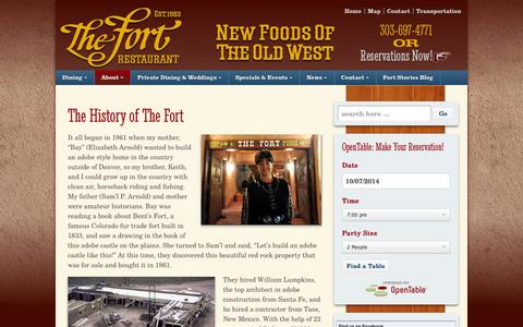 Screenshot of About Page thefort.com - The History of The Fort - The Fort Restaurant - captured Oct. 6, 2014